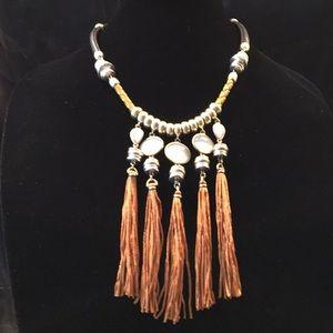 NWT Lucky Brand Silk Tassel Statement Necklace